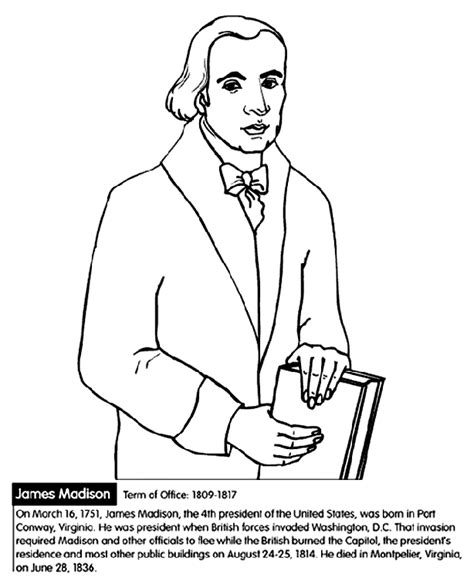 march coloring pages crayola u s president james madison crayola ca