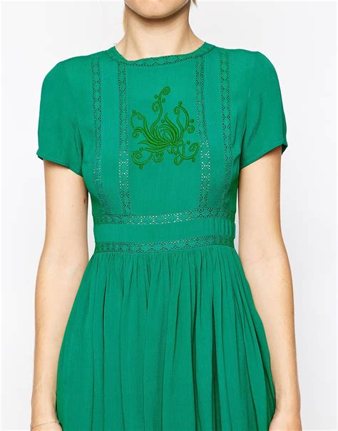 Dress Cewek Premium Kd 9172 lyst asos premium skater dress with embroidery and lace