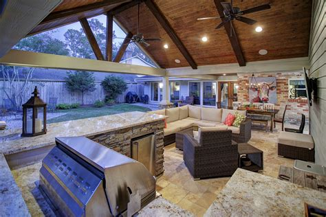 add a outdoor room to home outdoor living and remodeled garage in west memorial
