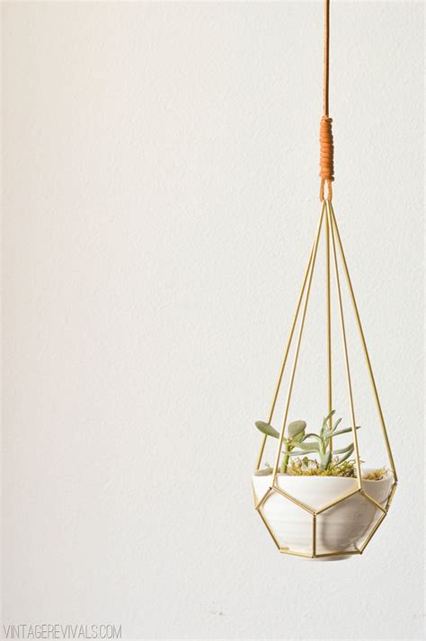 geometric hanging planter diy leather and brass teardrop hanging planter vintage revivals