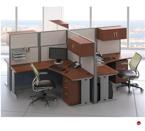 4 person office desk the office leader ades cluster of 4 person l shape office