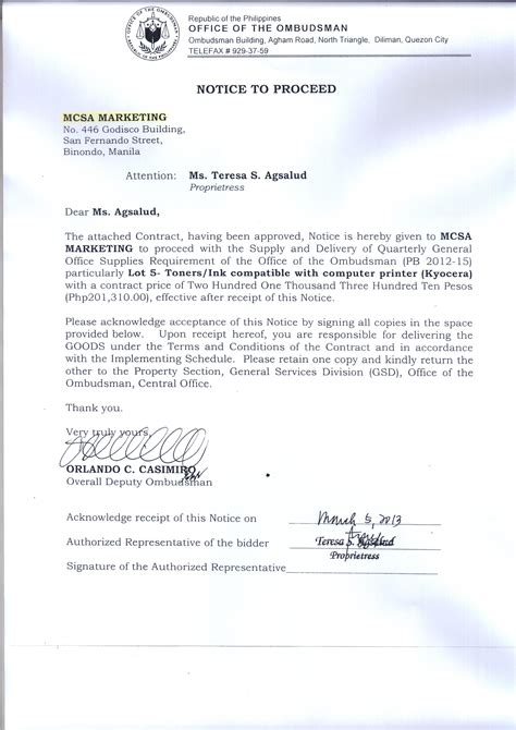 Award Notice Letter Office Of The Ombudsman