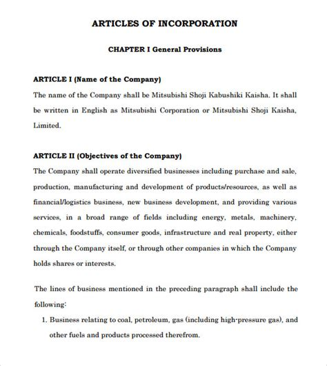 articles of incorporation template sle articles of incorporation 8 documents in pdf