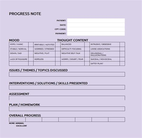 progress note template patient progress note template sle