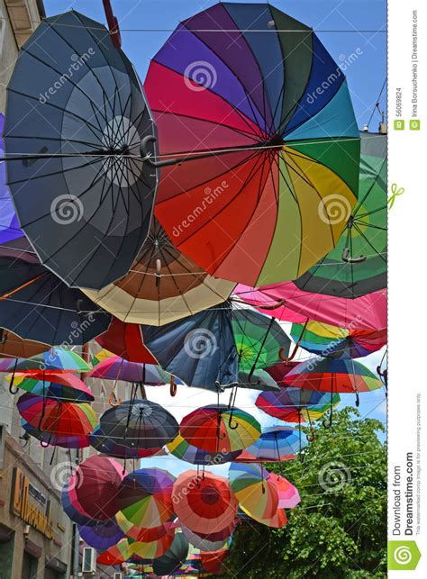X2 3746 St Umbrella gusev russia june 04 2015 color umbrellas hang on the stree editorial stock image image