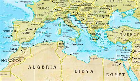 map of mediterranean mediterranean sea physical map