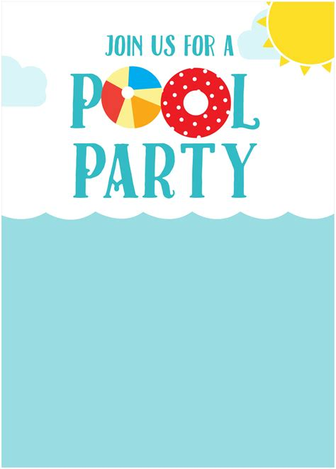 45 pool party invitations kitty baby love