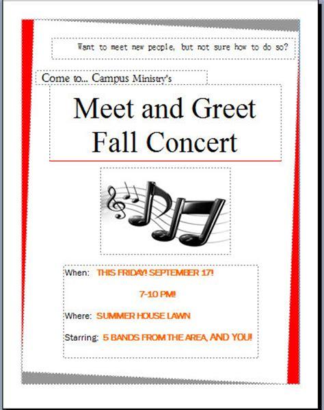 meet and greet concert flyer on behance