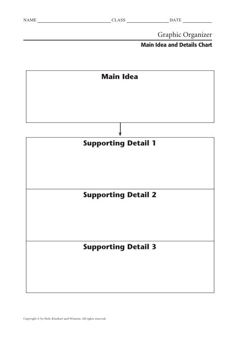 Idea And Supporting Details Worksheets by Idea And Details Chart