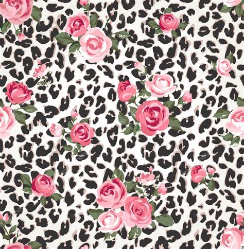 leopard pattern tumblr cute rose seamless mix leopard vector pattern background