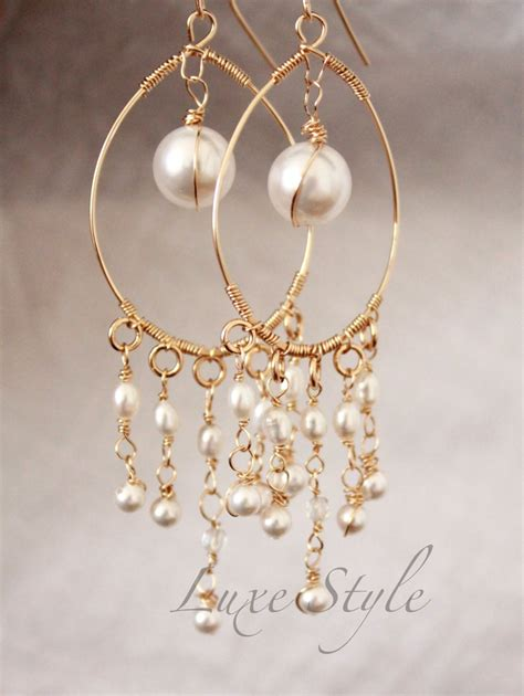 Unique Handmade Earrings - bridal chandelier earrings pearl drop gold earrings wire