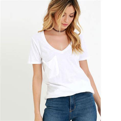 Sleeve Pocket V Neck T Shirt pocket casual v neck sleeve top blouse jumper