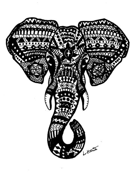 Aztec Home Decor by Aztec Elephant Head Drawing By Loren Hill