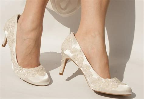 Bespoke Vintage Style Wedding Shoes With Beaded Lace And
