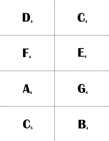 bass and treble clef with flash note flash cards treble clef c4 c6 naturals