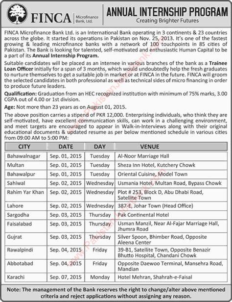 Mba Internships Sargodha by Finca Pakistan 2015 August September Loan Officers