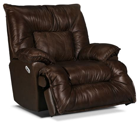 Flat Reclining Chair by Designed2b Recliner 7726 Genuine Leather Power Lay Flat