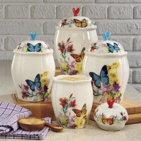 keramik k chen kanister sets butterfly canister set from through the country door