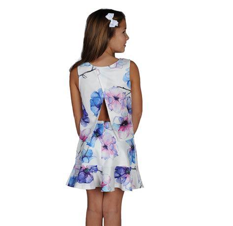 Set Flowery Dress watercolor floral tween dress skirt set