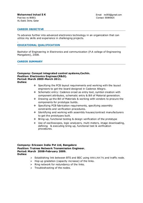 resume format for 4 years experience in net resume electronics engineer 3years experience