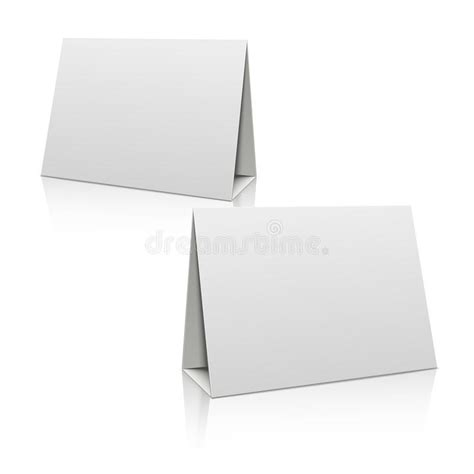 card stand template blank white paper stand table holder card 3d vector