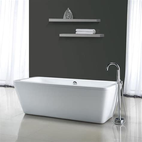 freestanding rectangular bathtub shop ove decors kido gloss white acrylic rectangular