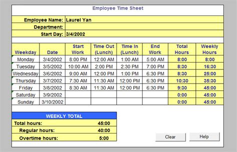 free excel timesheet template employees 60 timesheet templates free sle exle format