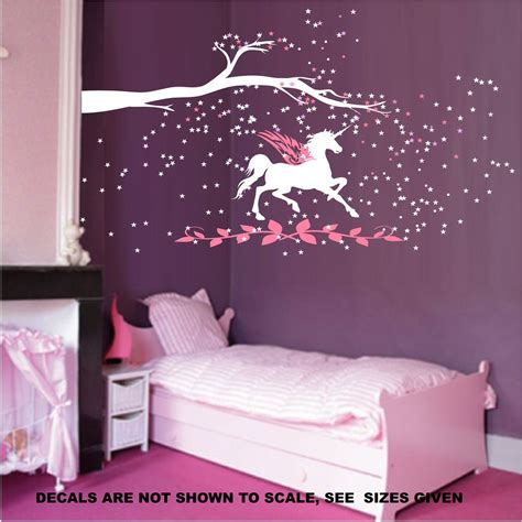 wall art for girl bedroom unicorn fantasy girls bedroom wall art sticker vinyl decal