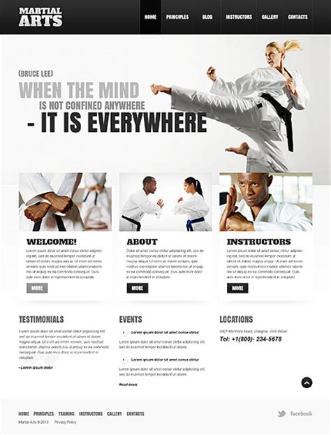 Website Templates For Karate | template 43186 martial arts wordpress responsive website