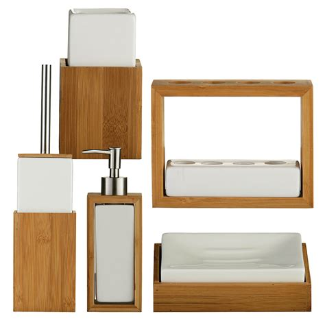 wood bathroom accessories sets bamboo wood white ceramic soap dish last stock ebay