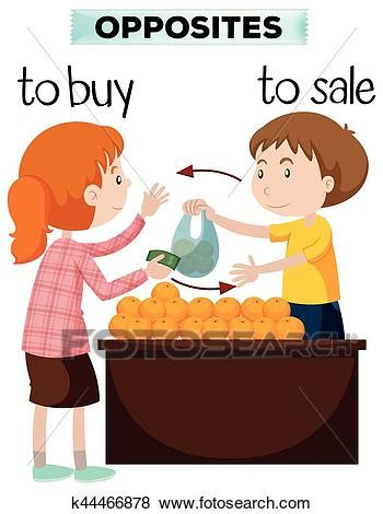 buy clipart clip of opposite words for buy and sale k44466878