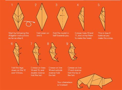 origami lizard diagram origami chameleon favecrafts