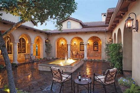 italian courtyard with beautiful homes