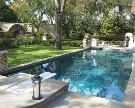 Rectangle Pools With Grass Decks Pool With Diving Square Swimming Pool Designs