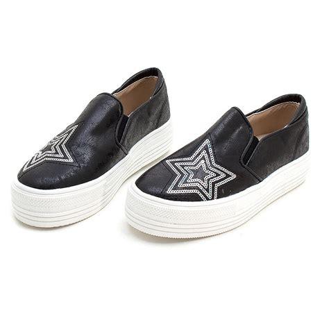 Sepatu Fashion Sneakers Semi Boots Platform Velcro Glitte 1 s vintage synthetic leather glitter spangle toe thick platform slip on sneakers black