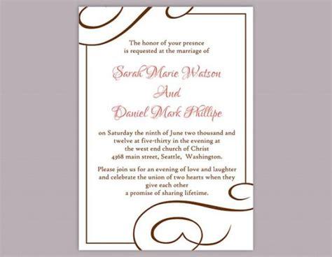 diy wedding invitation template editable word file instant