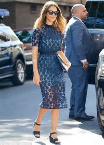jessica alba wears stunning sheer blue dress while out in