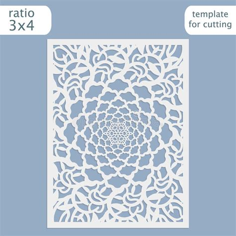floral paper cut out card template laser cut wedding invitation card template vector cut out