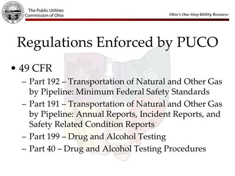dot regulation 49 cfr part 40 section 40 25 ppt gas pipeline safety powerpoint presentation id 1566920