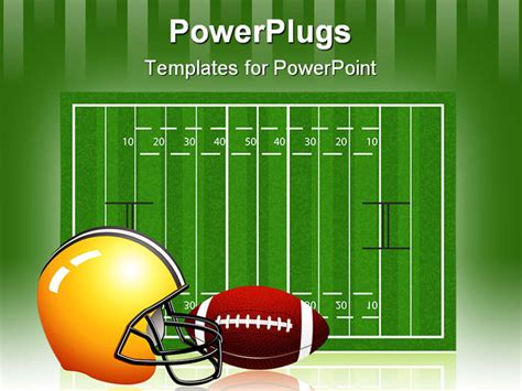 free football powerpoint template rugby field with and helmet easy to edit just drag