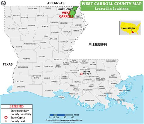 West Carroll Parish Map, Louisiana