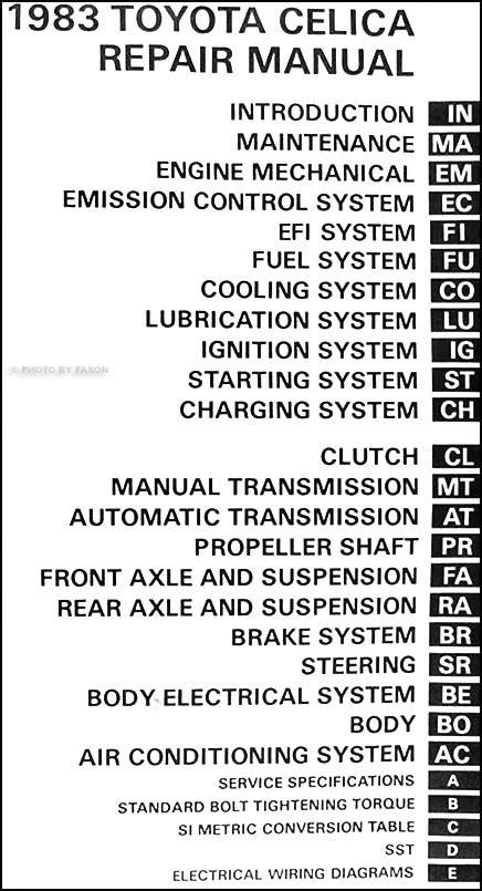 book repair manual 1983 toyota celica engine control 1983 toyota celica original repair shop manual 83 gt gts st oem service book ebay