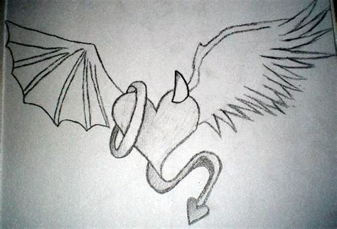 angel devil heart tattoo designs vs drawings vs by kiley