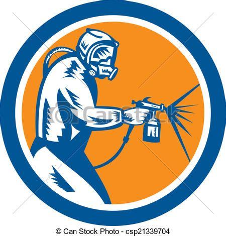 spray painter logo vector clipart of spray paint gun painter spraying woodcut