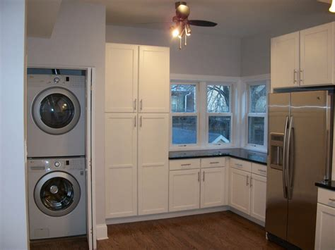 washer and dryer in kitchen stackable washer dryer laundry room traditional with built