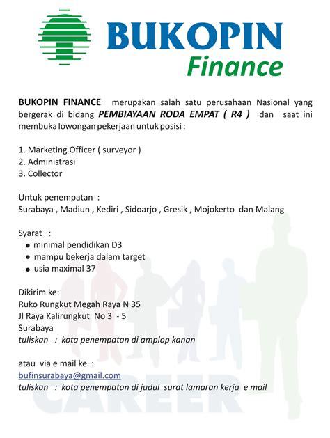 Lowongan Surabaya lowongan kerja bukopin finance surabaya lowongan kerja