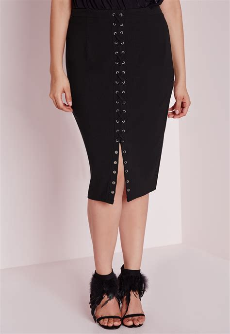 Skirt Black 1 lyst missguided plus size lace up midi skirt black in black