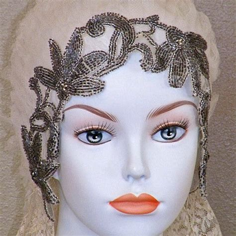 flapper beaded headdress 1920s beaded wedding cloche 20s flapper wedding