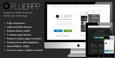 mobile app site template fluidapp responsive mobile app website template site