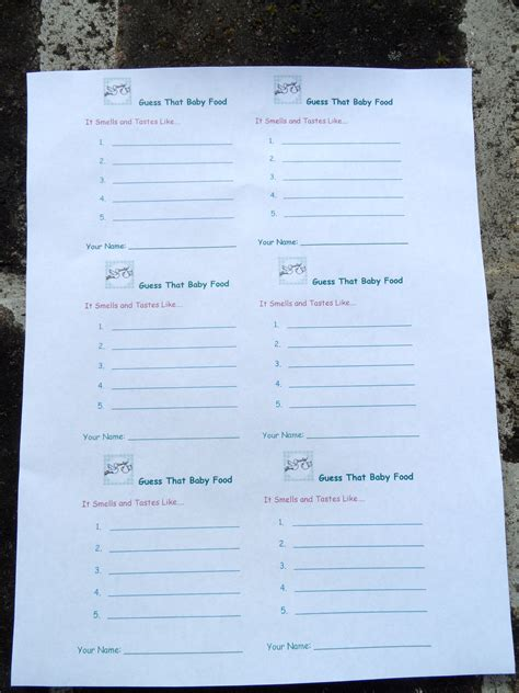 baby food guessing template delivery statistics guessing invitations ideas